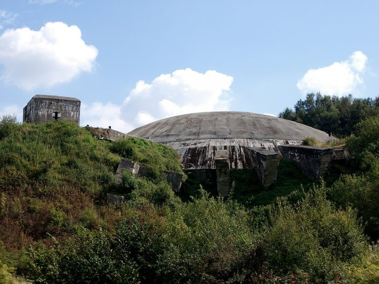 An exterior view of the V2 rocket launch site, the bunker dome at Wizernes, known as La Coupole museum