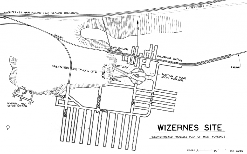 La Coupole-Wizernes site diagram by the Allies in September 1944.