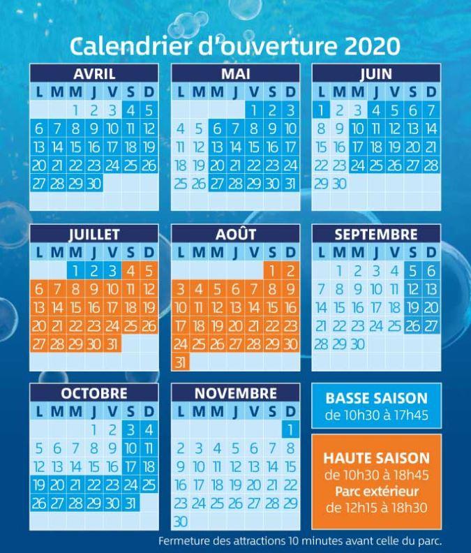 Aqualud Water Park France 2020 Calendar